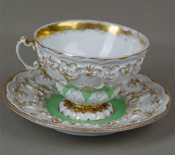 Мейсен, германия, чайная пара, роспись надглазурная, 19 век