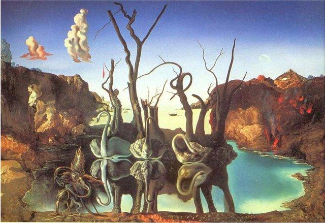 """картина Сальвадора Дали, """"Лебеди, отраженные в слонах"""""""