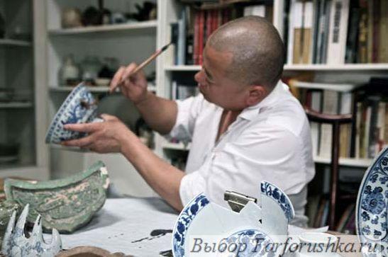 китайский художник Li Xiaofeng, коллекция одежды из фарфора для LACOSTE