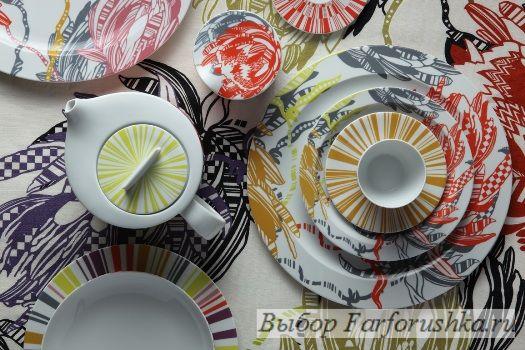 """сервиз """"Protea"""",  Richard Ginori и Missoni, фарфоровые тарелки и вазы"""