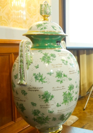 декоративная фарфоровая ваза Heremd, декор Виктория, стиль шинуазри
