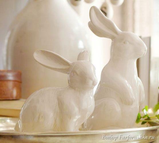 Сервировка стола к Пасхе в белых тонах - идеи, детали, фото, фарфоровые яйца, фарфоровые кролики