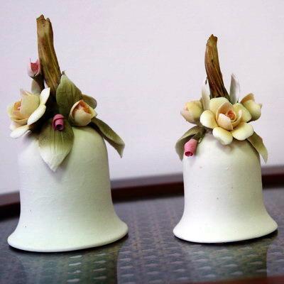 фарфоровые колокольчики с цветами, Arte Della Ctramica