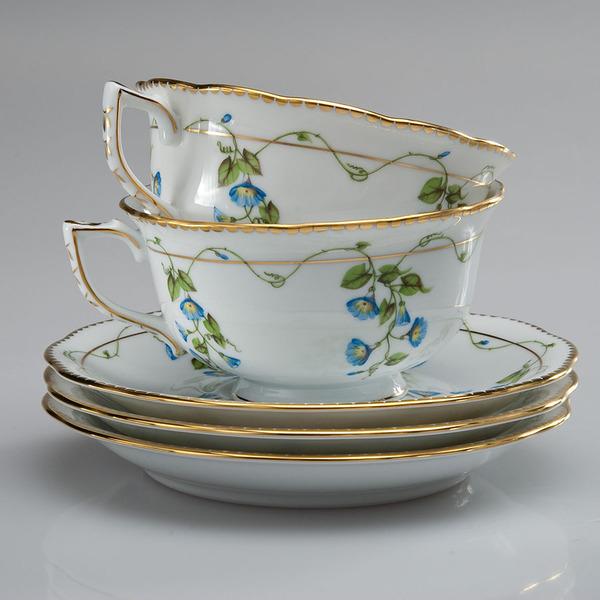 "чайные пары, из сервиза ""Nyon"", твердый белый фарфор, Herend"