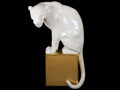 фарфоровая фигурка пантеры, твердый белый,  Augarten Wien