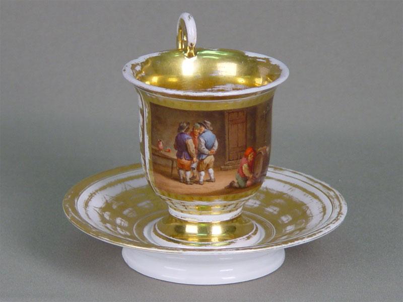 чайная пара в стиле ампир,фарфор. Западная Европа, первая треть 19в.