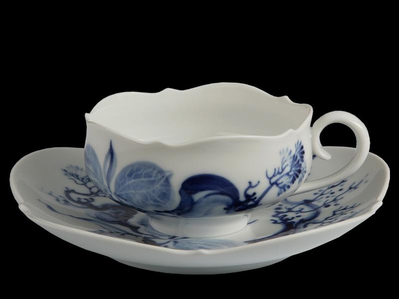 """чайная пара из сервиза """" Blue Orchide"""", Meissen"""