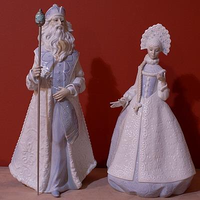 фарфоровый Дед Мороз и Снегурочка, Lladro