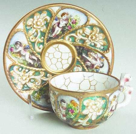 антикварная фарфоровая чайная пара сделанная в стиле Капо ди Монте, Италия