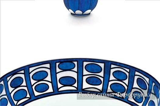 столовый фарфор от Hermes, коллекция «Bleus d'Ailleurs» , кобальтовая роспись