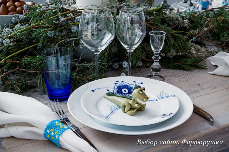 royal copenhagen, новогодняя сервировка стола, White fluted half lace, Flora danica, Blue fluted mega.