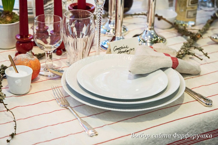 royal copenhagen, новогодняя сервировка стола, White fluted half lace