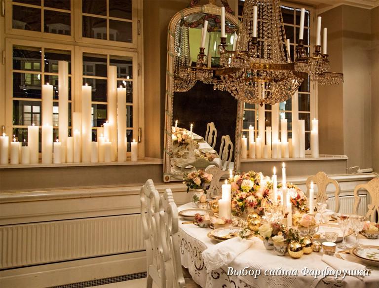 royal copenhagen, новогодняя сервировка стола, Flora danica