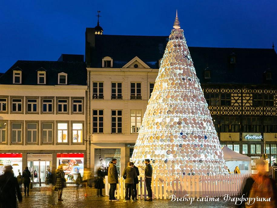 Porcelain Christmas Tree, фарфоровые тарелки, Бельгия, декабрь 2012