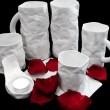 Porcelania - костяной фарфор ручной работы из Латвии, фарфоровые кружки, мятый фарфор