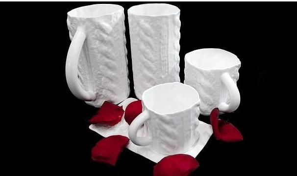 Porcelania - костяной фарфор ручной работы из Латвии, фарфоровые кружки, вязаный фарфор