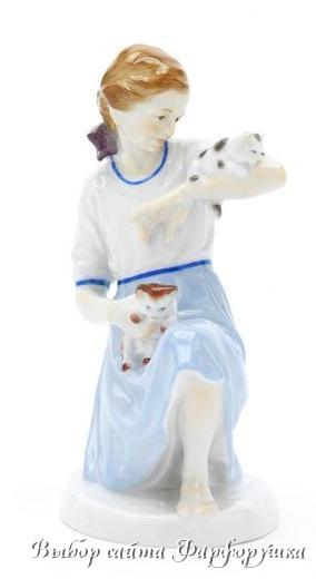 «Девочка с двумя котятами», Альфред Кёниг (1914), Meissen, «Фигурка года»